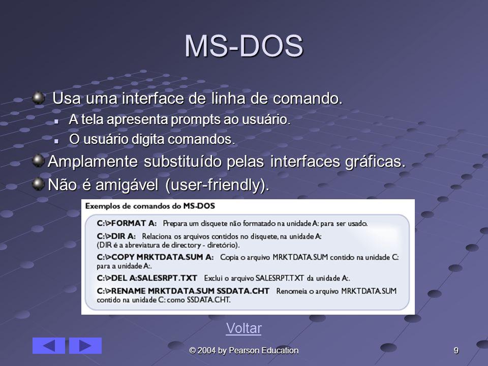 9 © 2004 by Pearson Education MS-DOS Usa uma interface de linha de comando. Usa uma interface de linha de comando. A tela apresenta prompts ao usuário