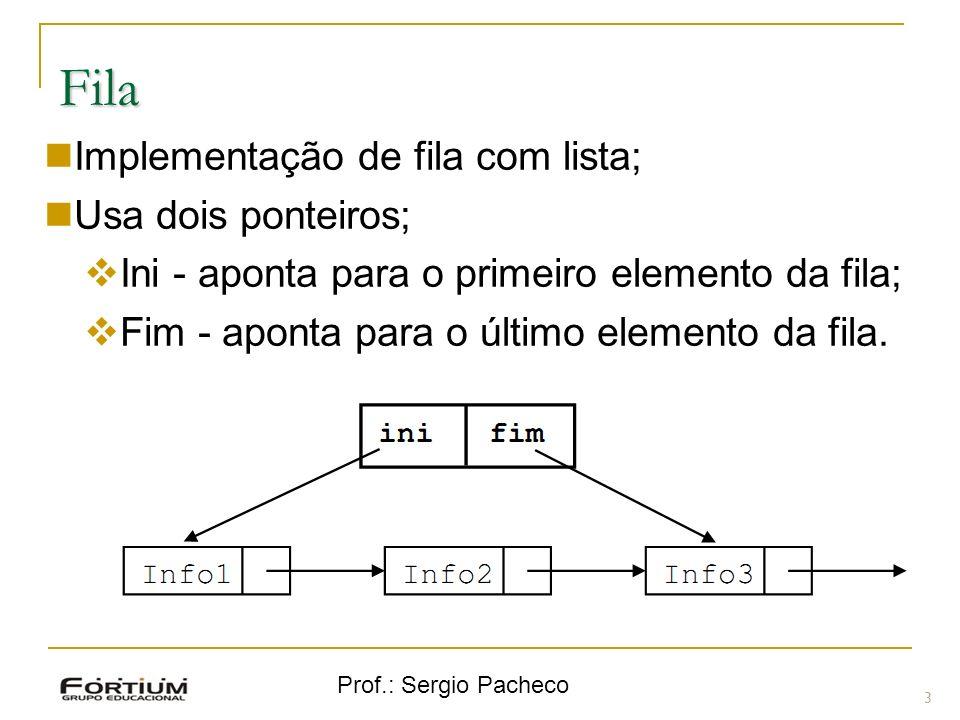 Prof.: Sergio Pacheco Fila 3 Implementação de fila com lista; Usa dois ponteiros; Ini - aponta para o primeiro elemento da fila; Fim - aponta para o ú