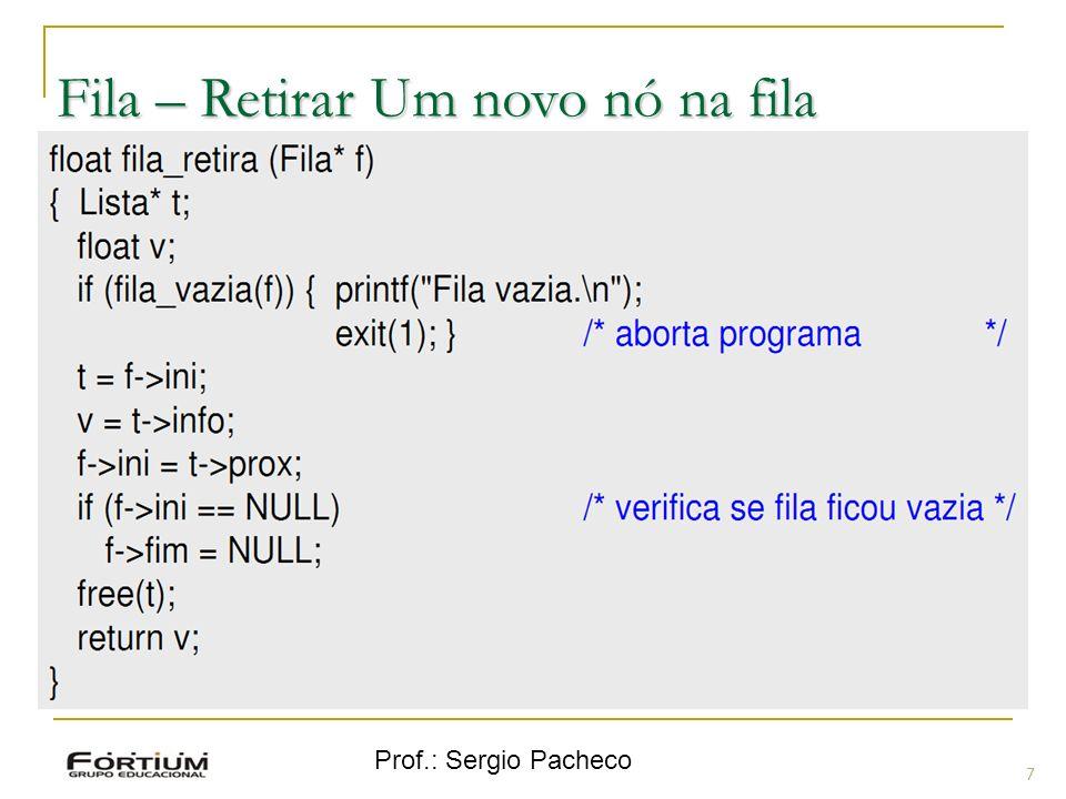 Prof.: Sergio Pacheco Fila – Retirar Um novo nó na fila 7