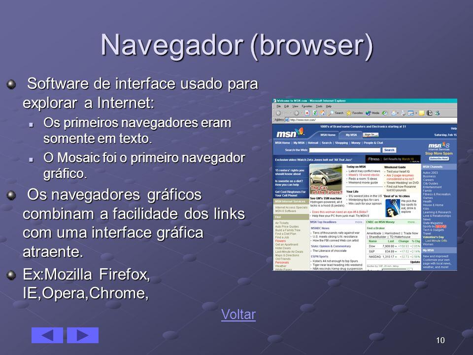 10 Navegador (browser) Software de interface usado para explorar a Internet: Software de interface usado para explorar a Internet: Os primeiros navega