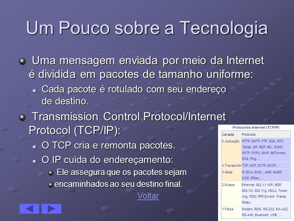 12 Um Pouco sobre a Tecnologia Uma mensagem enviada por meio da Internet é dividida em pacotes de tamanho uniforme: Uma mensagem enviada por meio da I