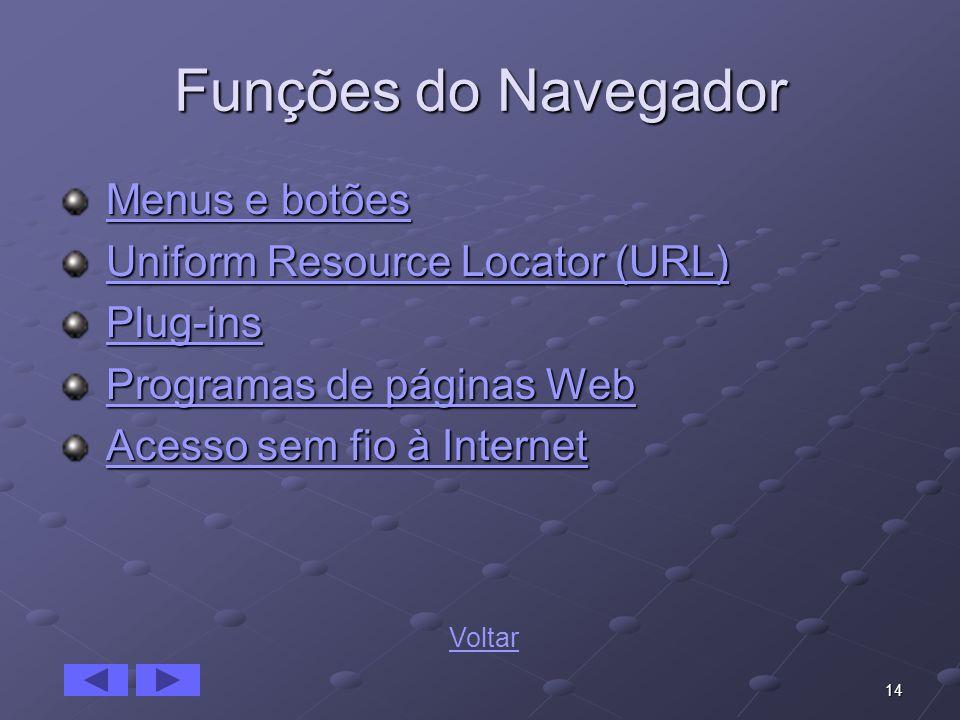14 Funções do Navegador Menus e botões Menus e botõesMenus e botõesMenus e botões Uniform Resource Locator (URL) Uniform Resource Locator (URL)Uniform