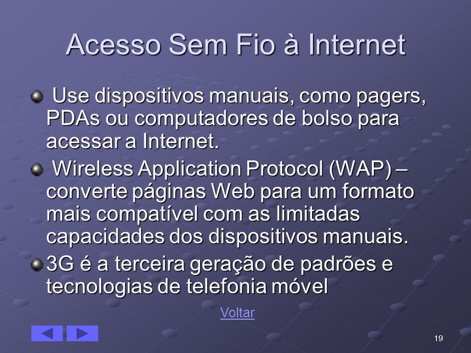 19 Acesso Sem Fio à Internet Use dispositivos manuais, como pagers, PDAs ou computadores de bolso para acessar a Internet. Use dispositivos manuais, c