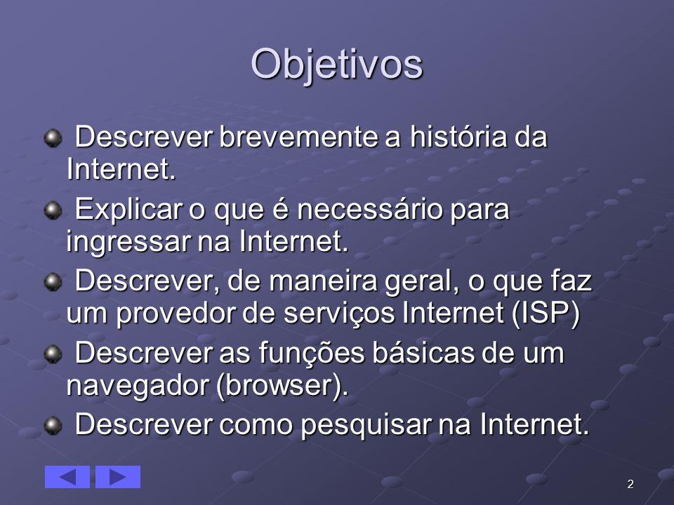 2 Objetivos Descrever brevemente a história da Internet. Descrever brevemente a história da Internet. Explicar o que é necessário para ingressar na In