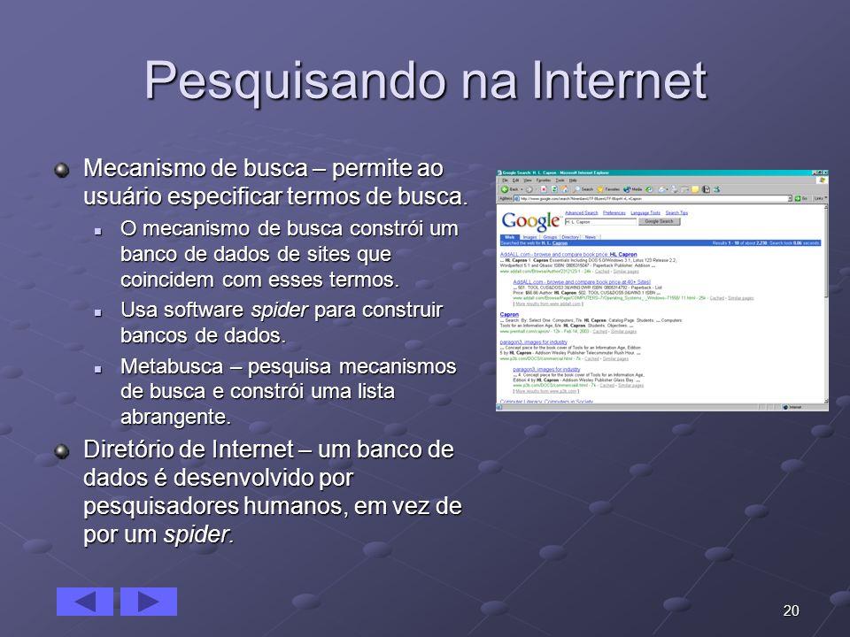 20 Pesquisando na Internet Mecanismo de busca – permite ao usuário especificar termos de busca. O mecanismo de busca constrói um banco de dados de sit