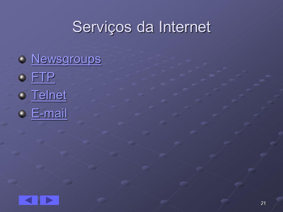 21 Serviços da Internet Newsgroups NewsgroupsNewsgroups FTP FTPFTP Telnet TelnetTelnet E-mail E-mailE-mail