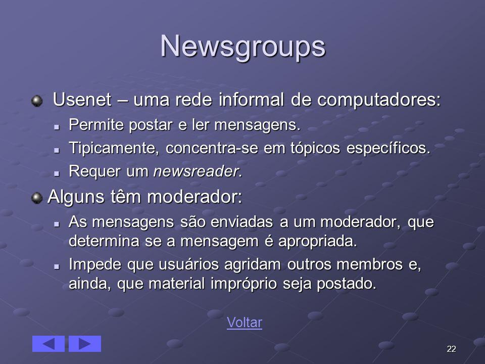 22 Newsgroups Usenet – uma rede informal de computadores: Usenet – uma rede informal de computadores: Permite postar e ler mensagens. Permite postar e