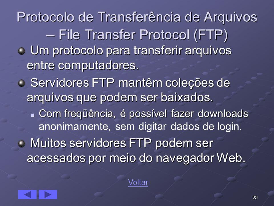 23 Protocolo de Transferência de Arquivos – File Transfer Protocol (FTP) Um protocolo para transferir arquivos entre computadores. Um protocolo para t
