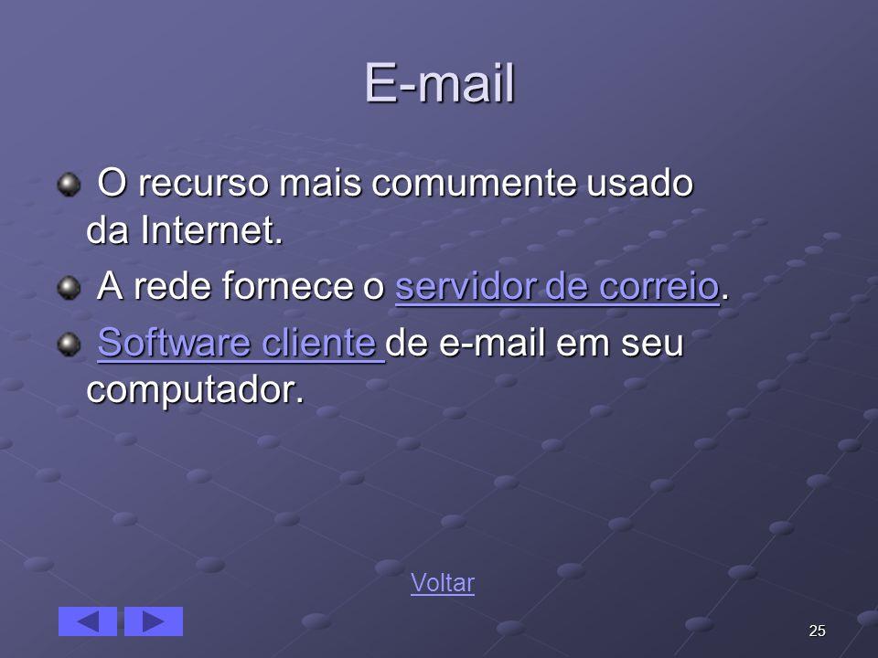 25 E-mail O recurso mais comumente usado da Internet. O recurso mais comumente usado da Internet. A rede fornece o servidor de correio. A rede fornece