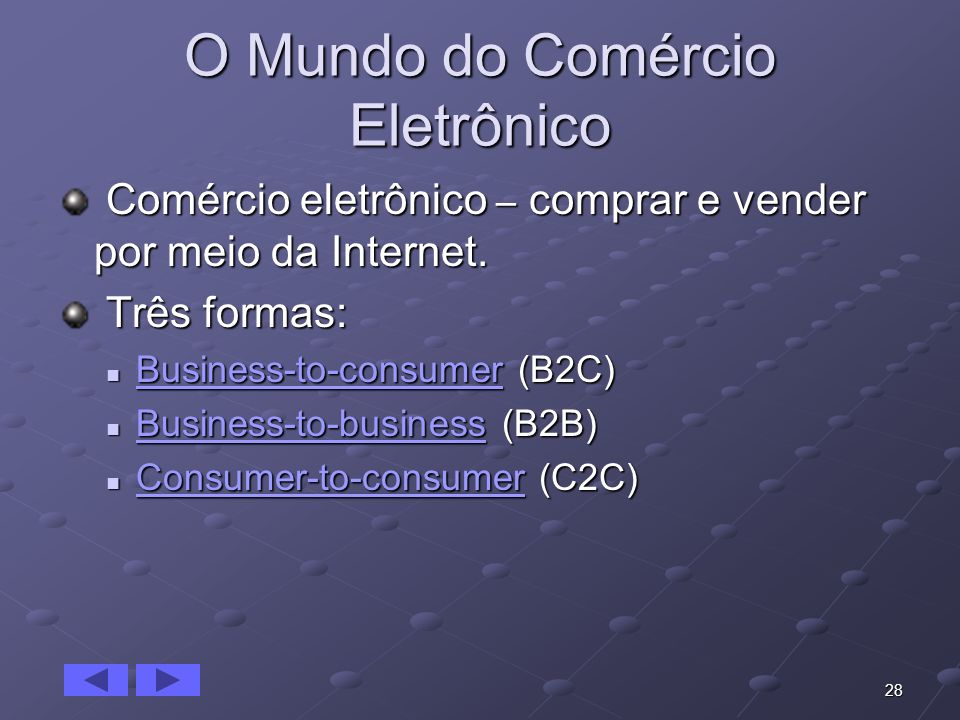 28 O Mundo do Comércio Eletrônico Comércio eletrônico – comprar e vender por meio da Internet. Comércio eletrônico – comprar e vender por meio da Inte