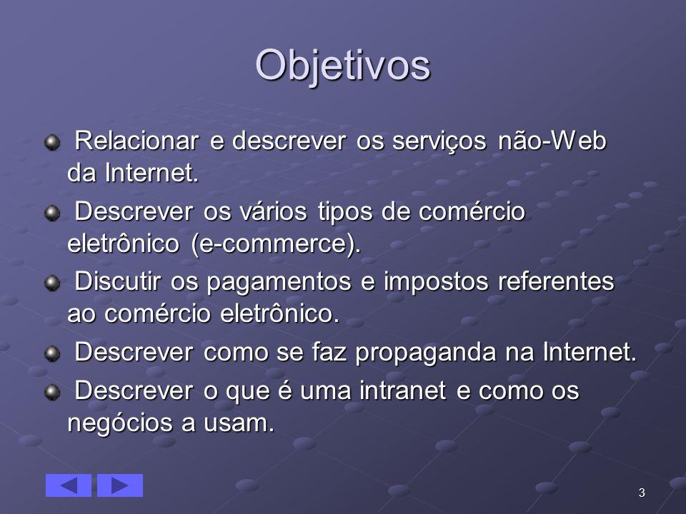 3 Objetivos Relacionar e descrever os serviços não-Web da Internet. Relacionar e descrever os serviços não-Web da Internet. Descrever os vários tipos