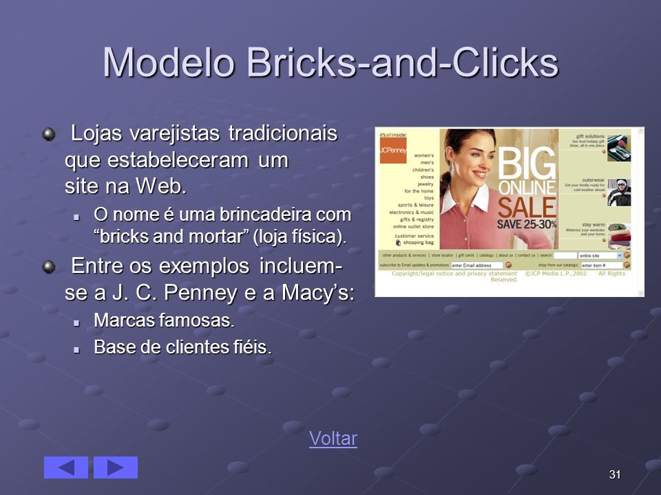 31 Modelo Bricks-and-Clicks Lojas varejistas tradicionais que estabeleceram um site na Web. Lojas varejistas tradicionais que estabeleceram um site na
