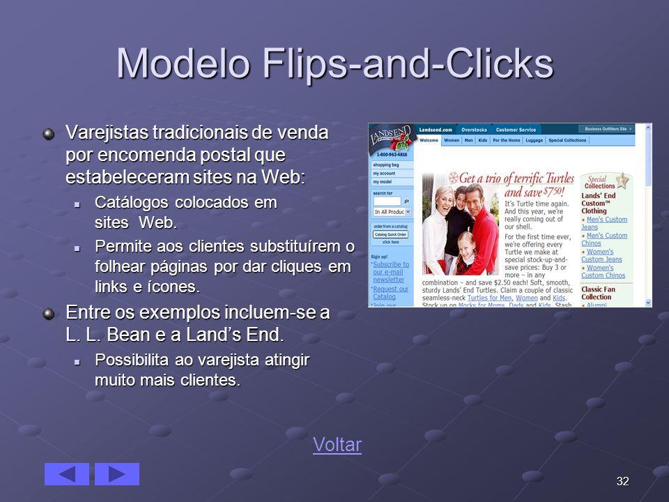 32 Modelo Flips-and-Clicks Varejistas tradicionais de venda por encomenda postal que estabeleceram sites na Web: Catálogos colocados em sites Web. Cat