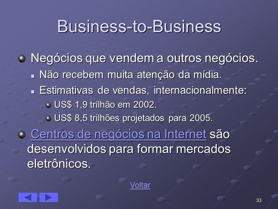 33 Business-to-Business Negócios que vendem a outros negócios. Negócios que vendem a outros negócios. Não recebem muita atenção da mídia. Não recebem