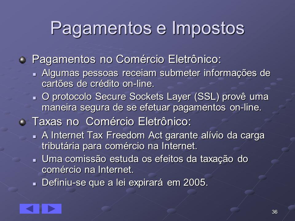 36 Pagamentos e Impostos Pagamentos no Comércio Eletrônico: Pagamentos no Comércio Eletrônico: Algumas pessoas receiam submeter informações de cartões