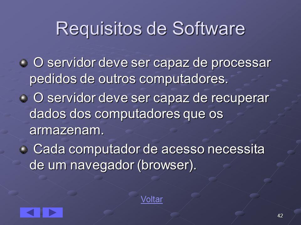 42 Requisitos de Software O servidor deve ser capaz de processar pedidos de outros computadores. O servidor deve ser capaz de processar pedidos de out