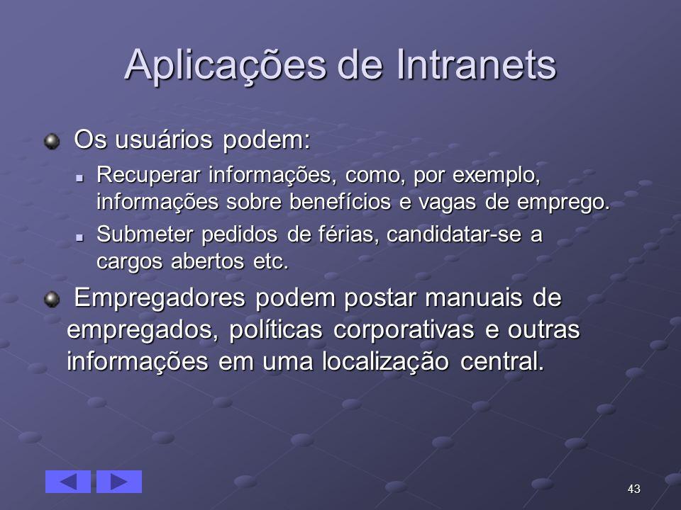 43 Aplicações de Intranets Os usuários podem: Os usuários podem: Recuperar informações, como, por exemplo, informações sobre benefícios e vagas de emp