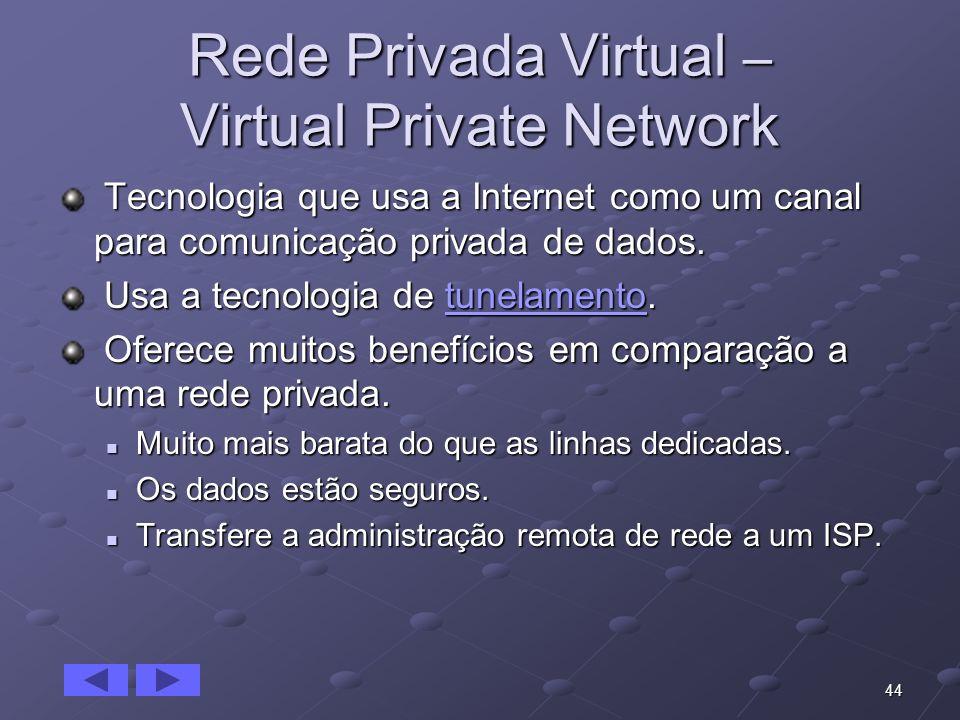 44 Rede Privada Virtual – Virtual Private Network Tecnologia que usa a Internet como um canal para comunicação privada de dados. Tecnologia que usa a