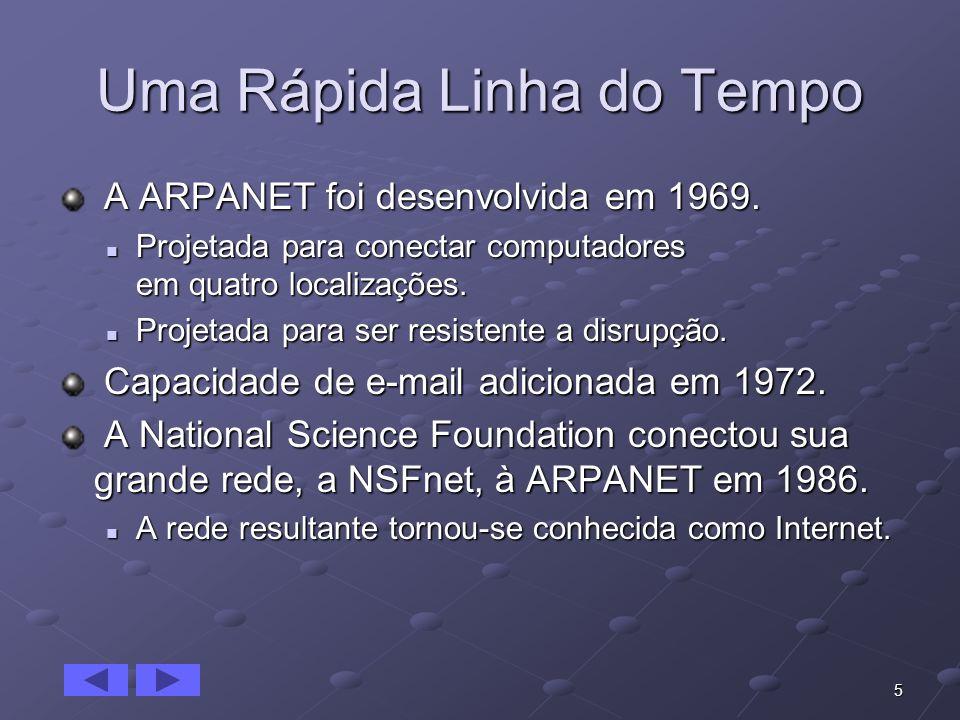 5 Uma Rápida Linha do Tempo A ARPANET foi desenvolvida em 1969. A ARPANET foi desenvolvida em 1969. Projetada para conectar computadores em quatro loc