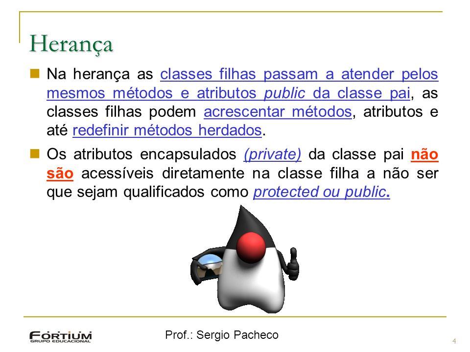 Prof.: Sergio Pacheco Herança 4 Na herança as classes filhas passam a atender pelos mesmos métodos e atributos public da classe pai, as classes filhas