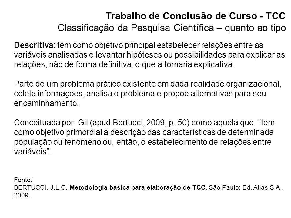 Trabalho de Conclusão de Curso - TCC Classificação da Pesquisa Científica – quanto à técnica Técnica, design ou delineamento – a escolha deve ser realizada em função do problema e dos objetivos da pesquisa.