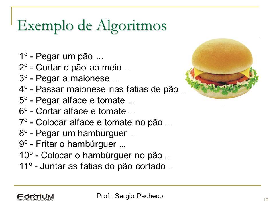 Prof.: Sergio Pacheco Exemplo de Algoritmos 10 1º - Pegar um pão... 2º - Cortar o pão ao meio... 3º - Pegar a maionese... 4º - Passar maionese nas fat