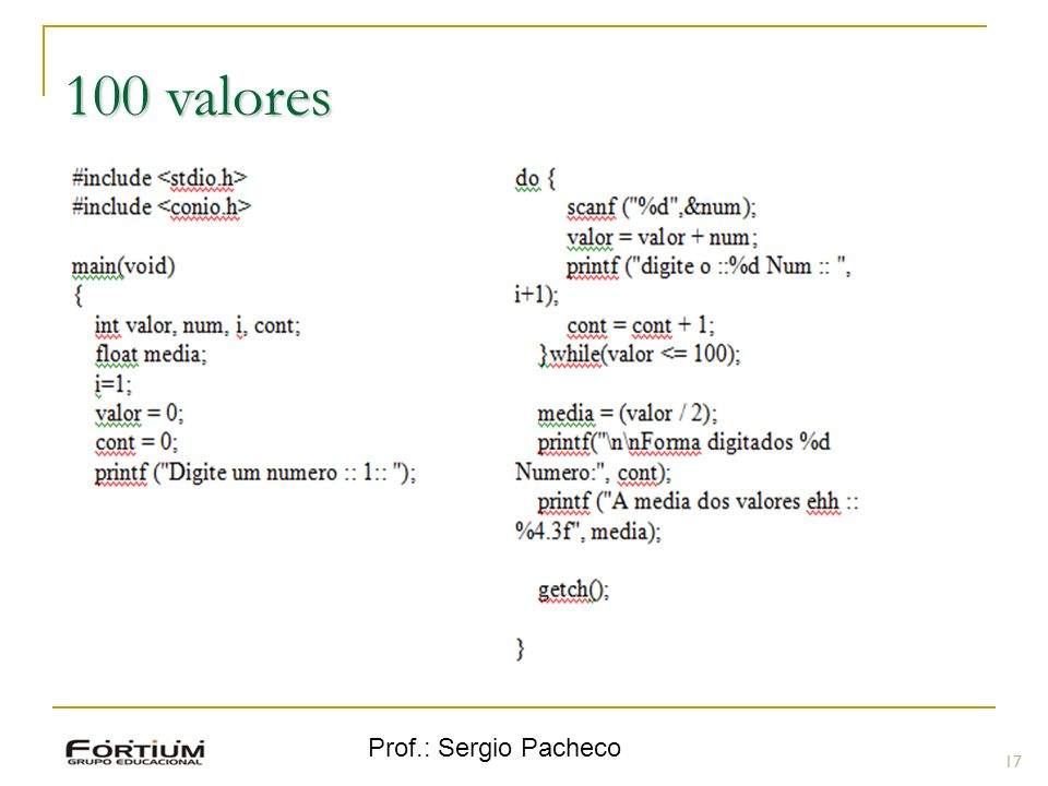 Prof.: Sergio Pacheco 100 valores 17