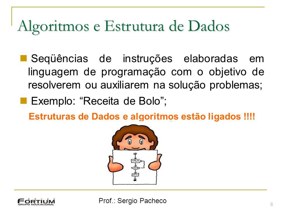 Prof.: Sergio Pacheco Algoritmos e Estrutura de Dados 8 Seqüências de instruções elaboradas em linguagem de programação com o objetivo de resolverem o