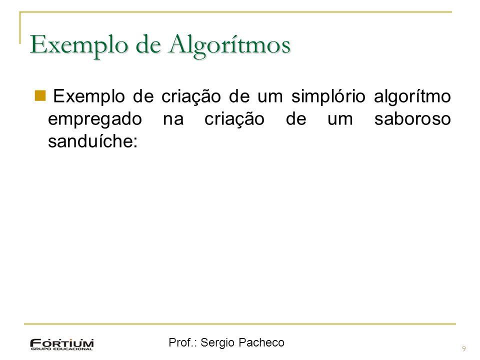 Prof.: Sergio Pacheco Exemplo de Algorítmos 9 Exemplo de criação de um simplório algorítmo empregado na criação de um saboroso sanduíche: