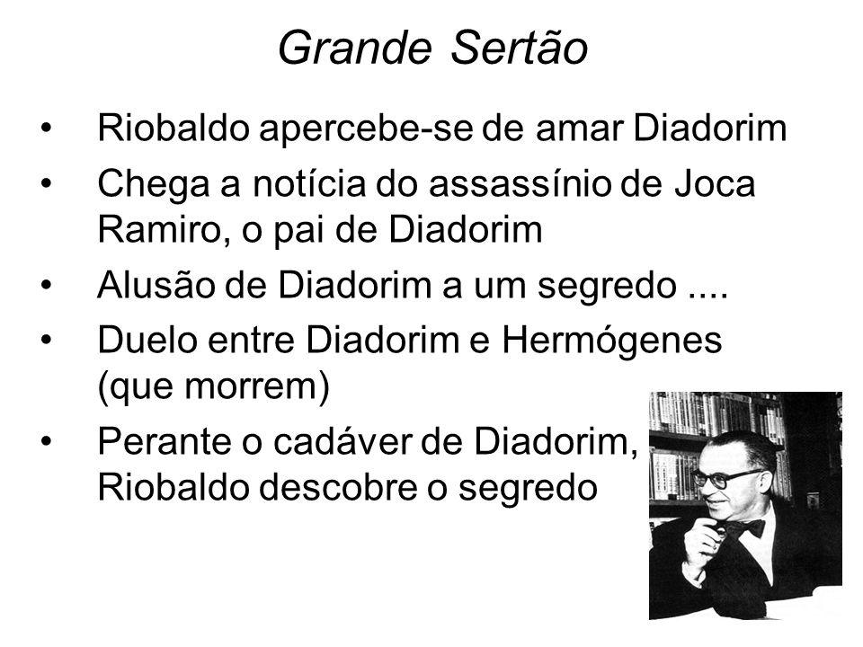 Grande Sertão Riobaldo apercebe-se de amar Diadorim Chega a notícia do assassínio de Joca Ramiro, o pai de Diadorim Alusão de Diadorim a um segredo...