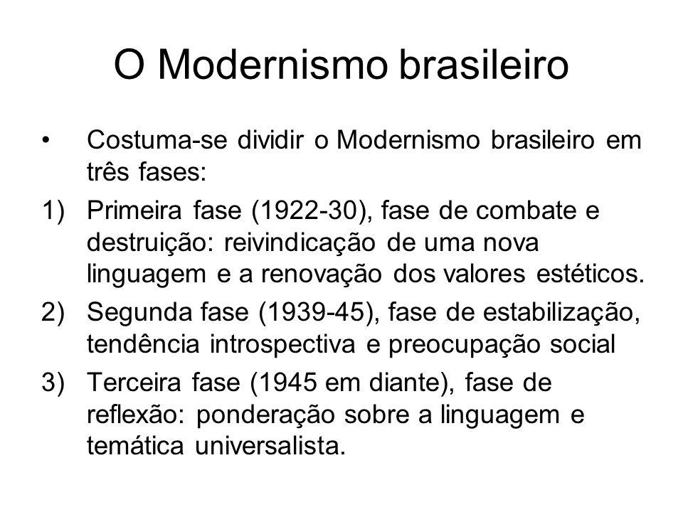 O Modernismo brasileiro Costuma-se dividir o Modernismo brasileiro em três fases: 1)Primeira fase (1922-30), fase de combate e destruição: reivindicaç