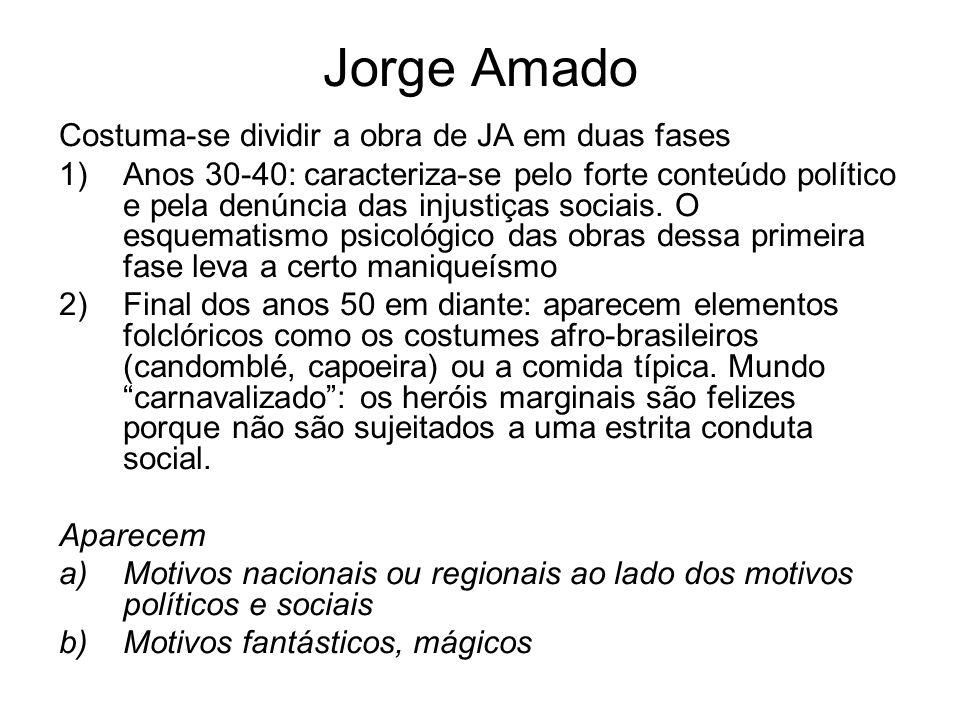 Jorge Amado Costuma-se dividir a obra de JA em duas fases 1)Anos 30-40: caracteriza-se pelo forte conteúdo político e pela denúncia das injustiças soc