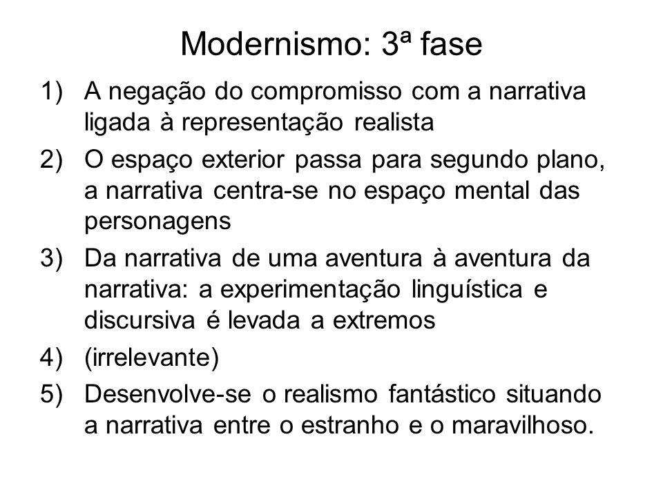 Modernismo: 3ª fase 1)A negação do compromisso com a narrativa ligada à representação realista 2)O espaço exterior passa para segundo plano, a narrati