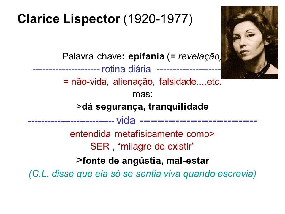 Clarice Lispector (1920-1977) Palavra chave: epifania (= revelação) --------------------- rotina diária ------------------------------ = não-vida, ali