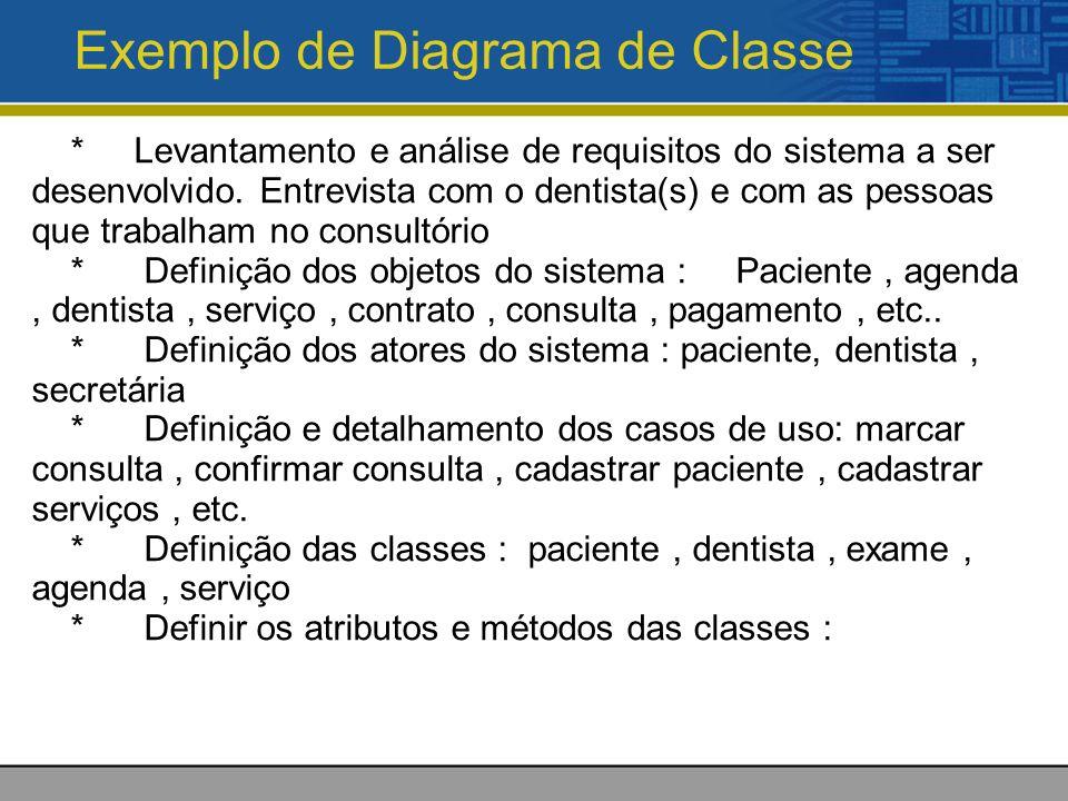 Exemplo de Diagrama de Classe * Levantamento e análise de requisitos do sistema a ser desenvolvido. Entrevista com o dentista(s) e com as pessoas que