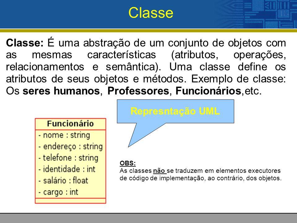 Classe Classe: É uma abstração de um conjunto de objetos com as mesmas características (atributos, operações, relacionamentos e semântica). Uma classe