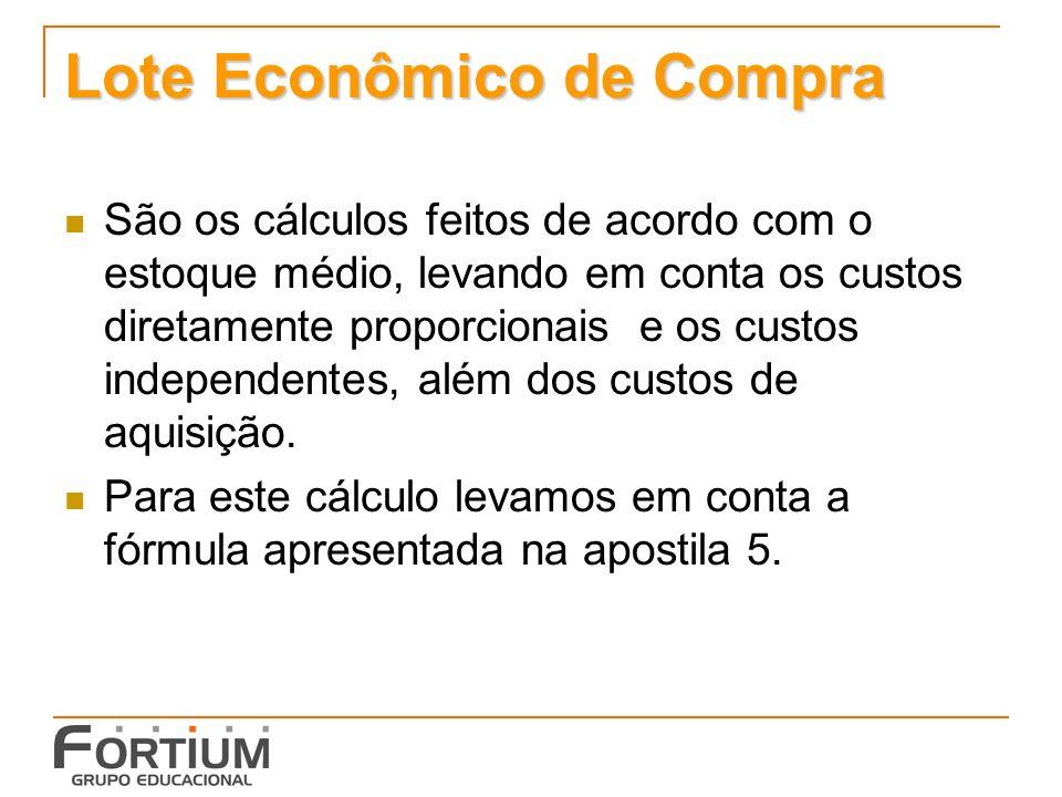 Lote Econômico de Compra São os cálculos feitos de acordo com o estoque médio, levando em conta os custos diretamente proporcionais e os custos indepe