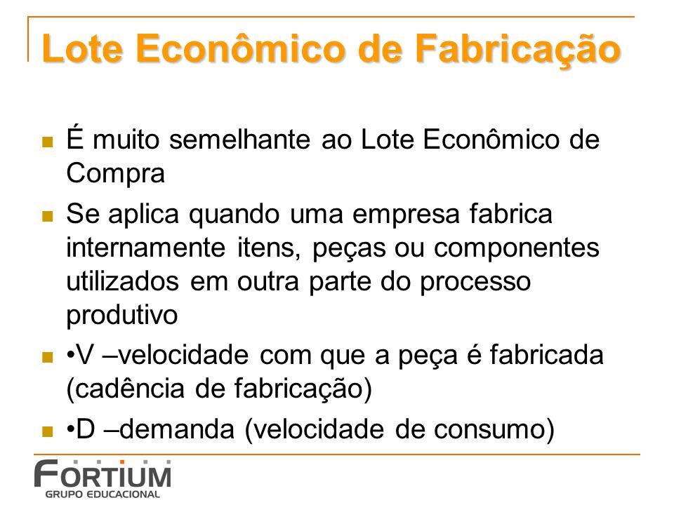 Lote Econômico de Fabricação É muito semelhante ao Lote Econômico de Compra Se aplica quando uma empresa fabrica internamente itens, peças ou componen
