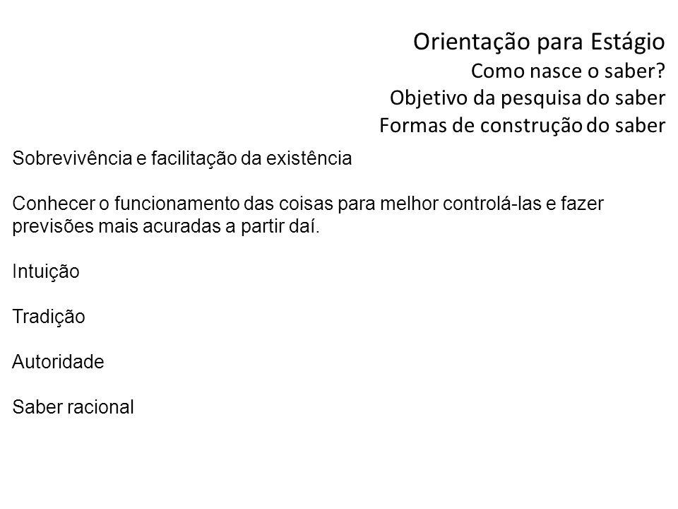 Orientação para Estágio Por que estudar metodologia científica no curso de Administração.
