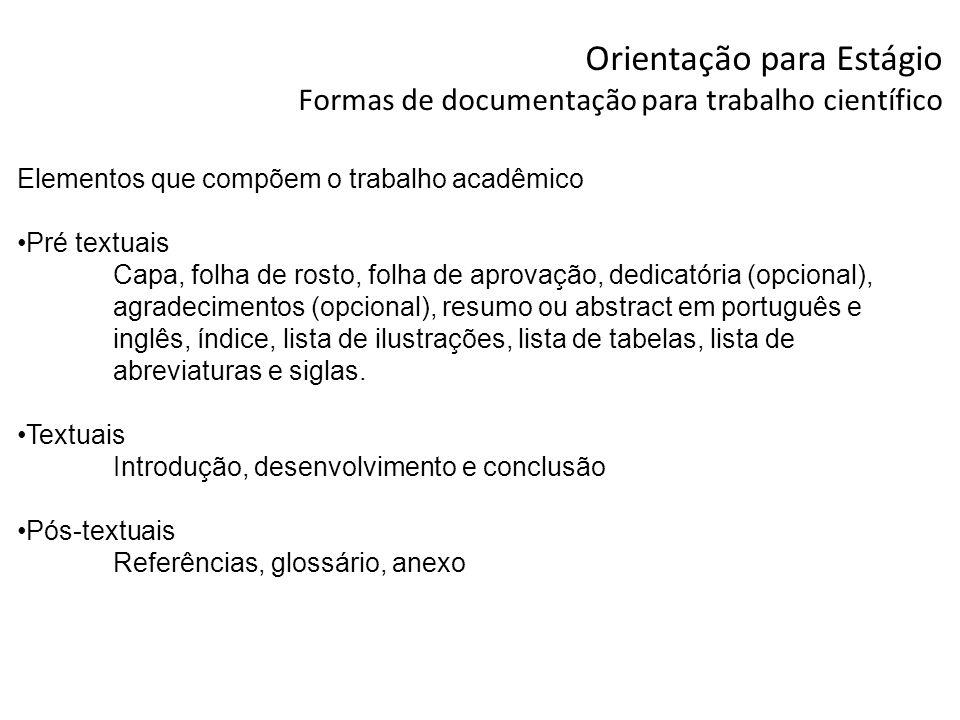 Orientação para Estágio Formas de documentação para trabalho científico Elementos que compõem o trabalho acadêmico Pré textuais Capa, folha de rosto,