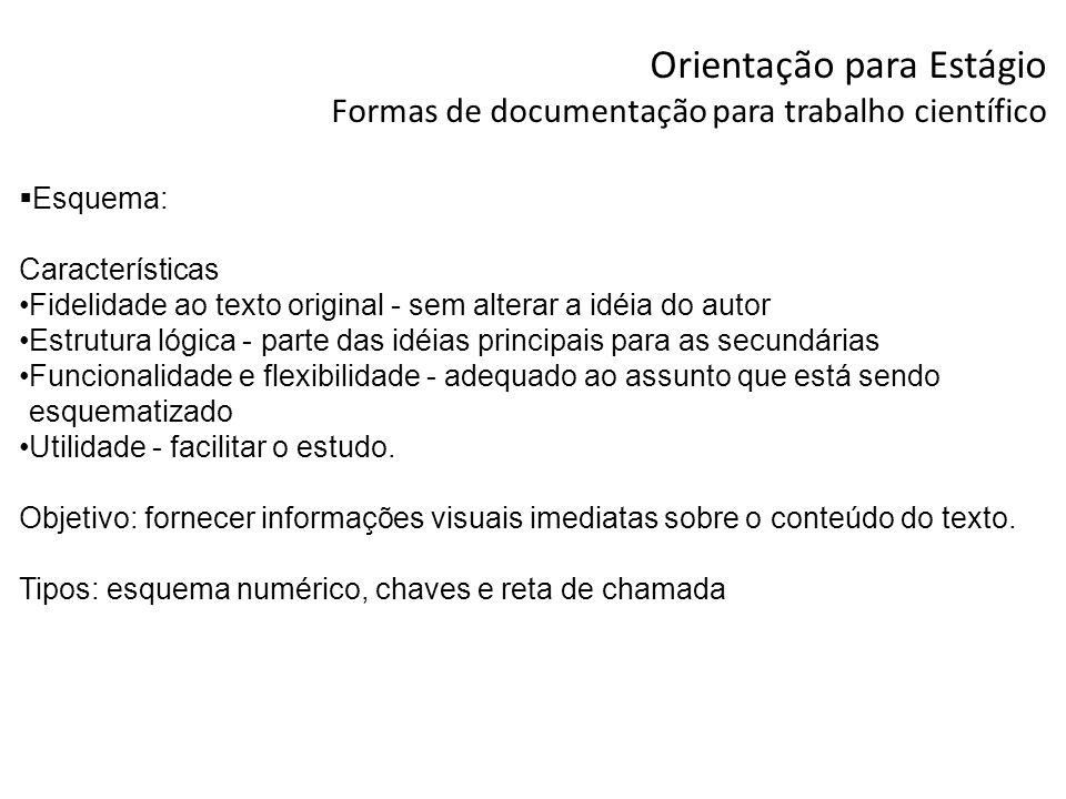 Orientação para Estágio Formas de documentação para trabalho científico Esquema: Características Fidelidade ao texto original - sem alterar a idéia do