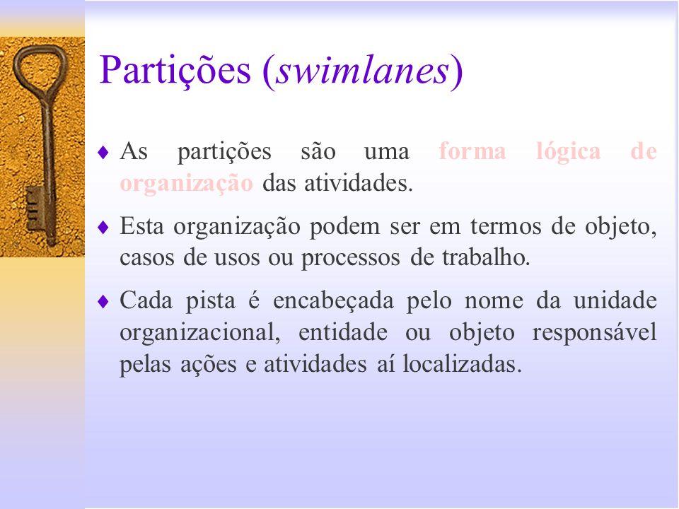 Partições (swimlanes) As partições são uma forma lógica de organização das atividades. Esta organização podem ser em termos de objeto, casos de usos o