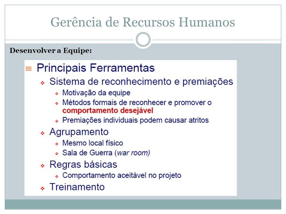Gerência de Recursos Humanos Desenvolver a Equipe: