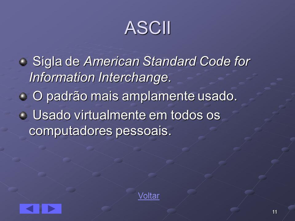11 ASCII Sigla de American Standard Code for Information Interchange. Sigla de American Standard Code for Information Interchange. O padrão mais ampla