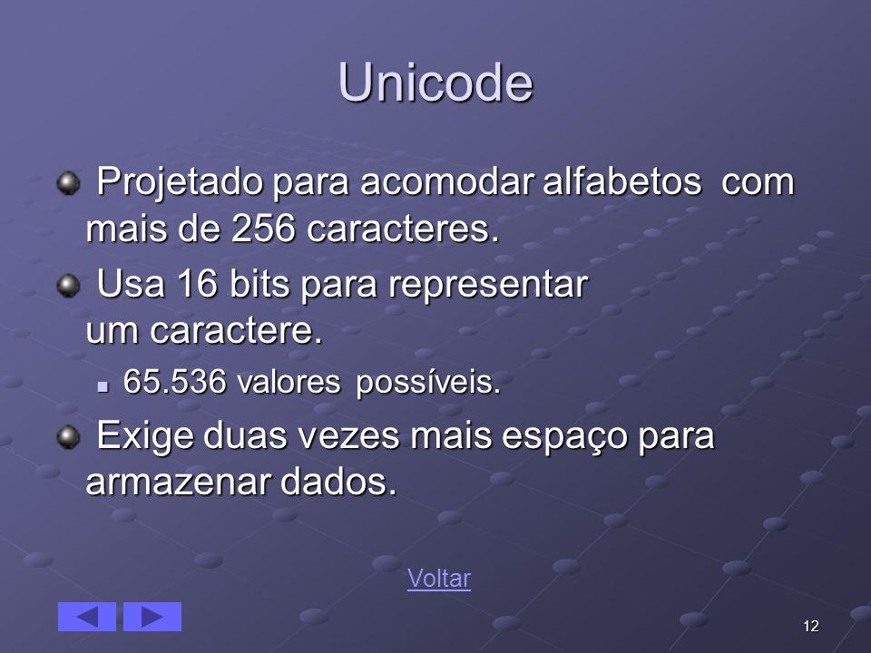 12 Unicode Projetado para acomodar alfabetos com mais de 256 caracteres. Projetado para acomodar alfabetos com mais de 256 caracteres. Usa 16 bits par