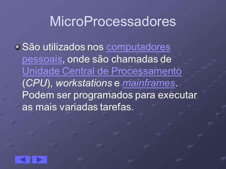 MicroProcessadores São utilizados nos computadores pessoais, onde são chamadas de Unidade Central de Processamento (CPU), workstations e mainframes. P