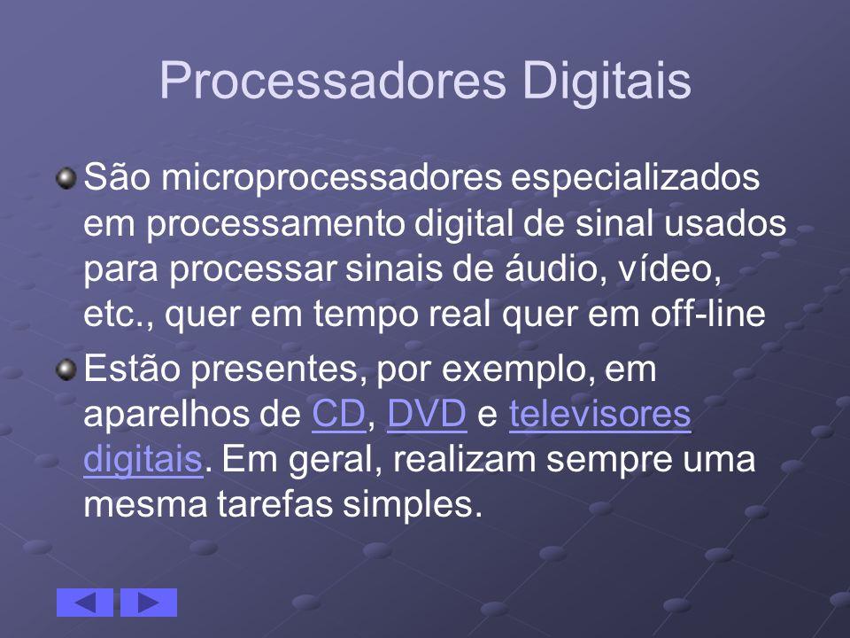 Processadores Digitais São microprocessadores especializados em processamento digital de sinal usados para processar sinais de áudio, vídeo, etc., que