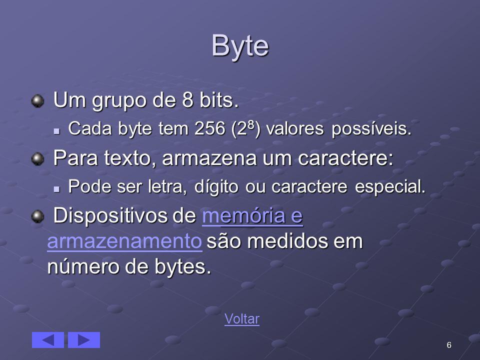 6 Byte Um grupo de 8 bits. Um grupo de 8 bits. Cada byte tem 256 (2 8 ) valores possíveis. Cada byte tem 256 (2 8 ) valores possíveis. Para texto, arm