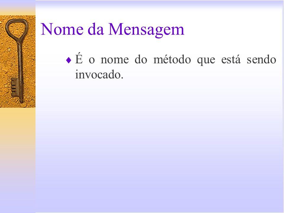 Nome da Mensagem É o nome do método que está sendo invocado.