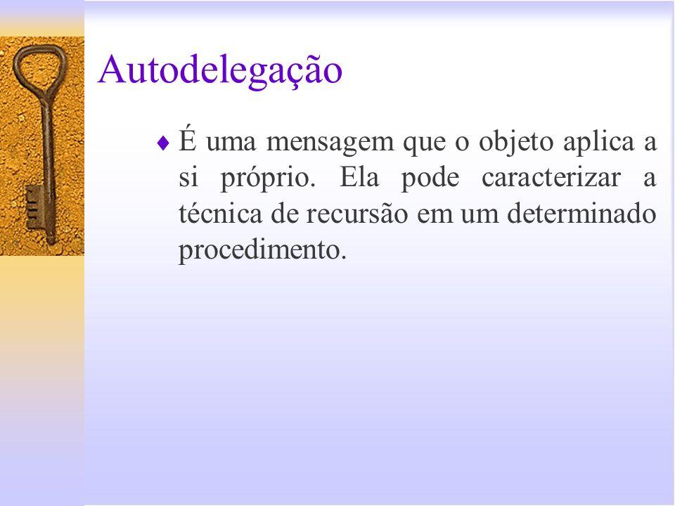 Autodelegação É uma mensagem que o objeto aplica a si próprio. Ela pode caracterizar a técnica de recursão em um determinado procedimento.